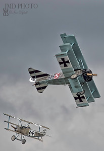Fokker Dr1 Triplanes of the Bremont Great War display team flying at the first Great Yarmouth free airshow.