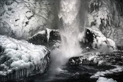 Winter at Kvernufoss waterfall
