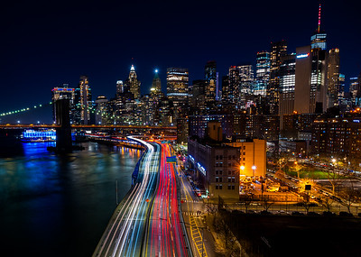 Traffic on the FDR overlooking the city skyline and Brooklyn Bridge. 12-05-2020