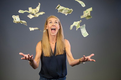 Stock photo shoot for money-related social media article