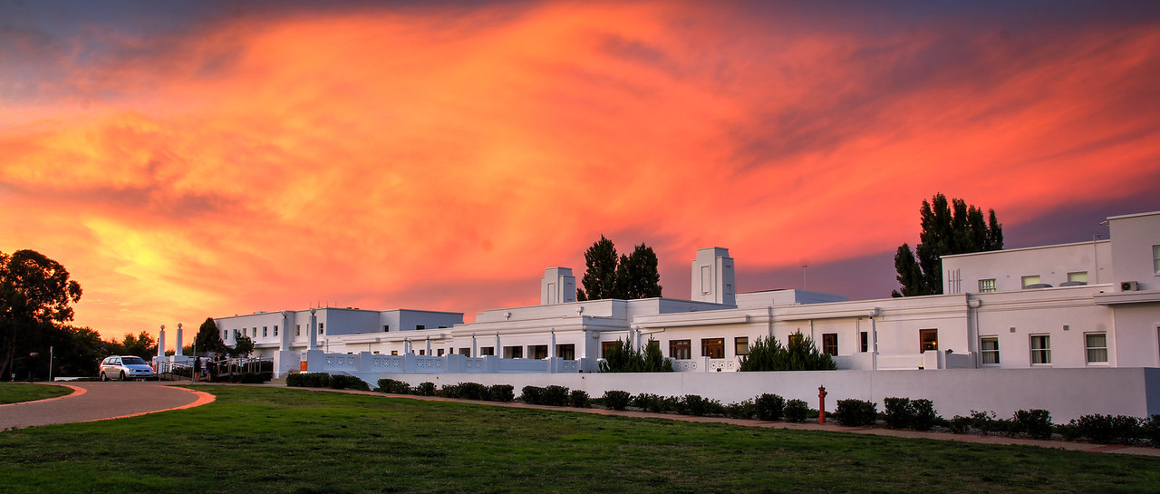 Fire Sunset over Old Parliament House