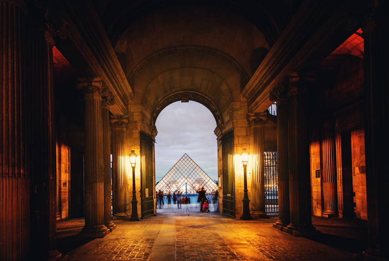 Arriving At The Louvre In The Late Evening