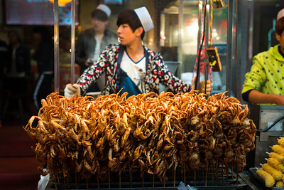 Chinese street food: fried crabs