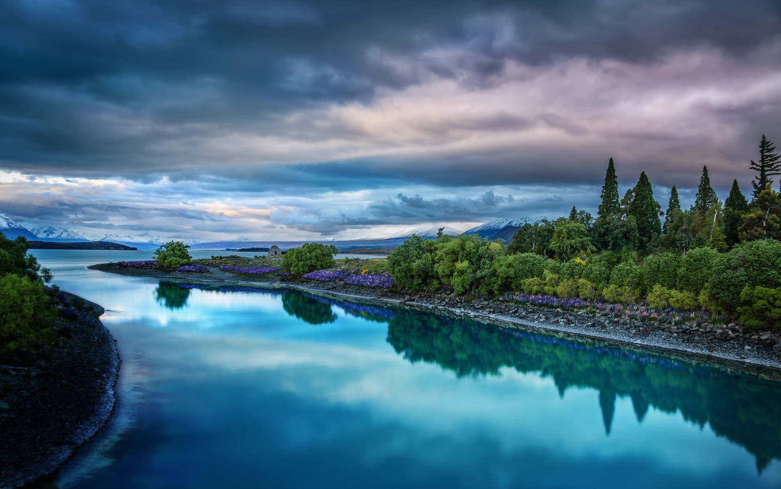 Evening on the blue Lake Tekapo