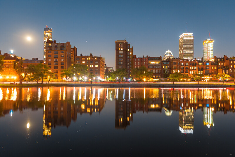Back Bay skyline reflected in the Storrow Lagoon