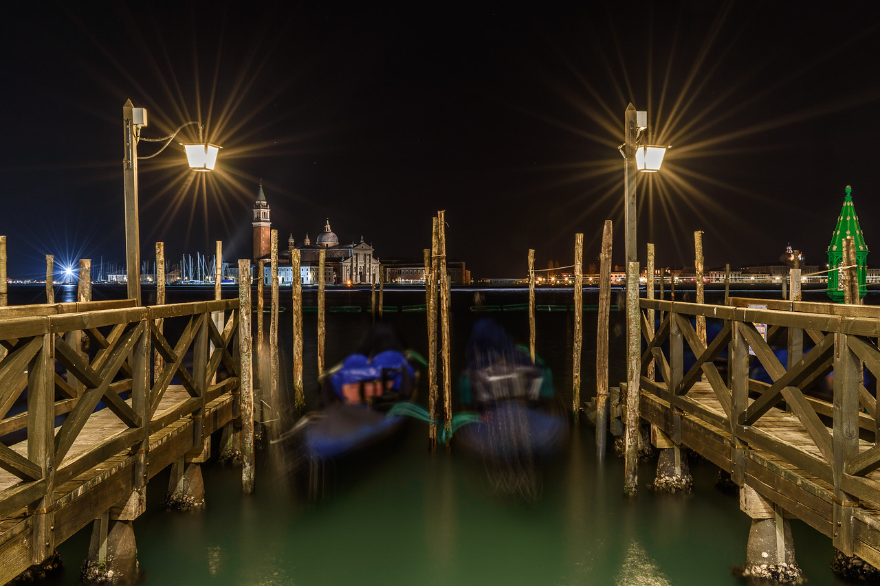 Gondolas at night, Venice