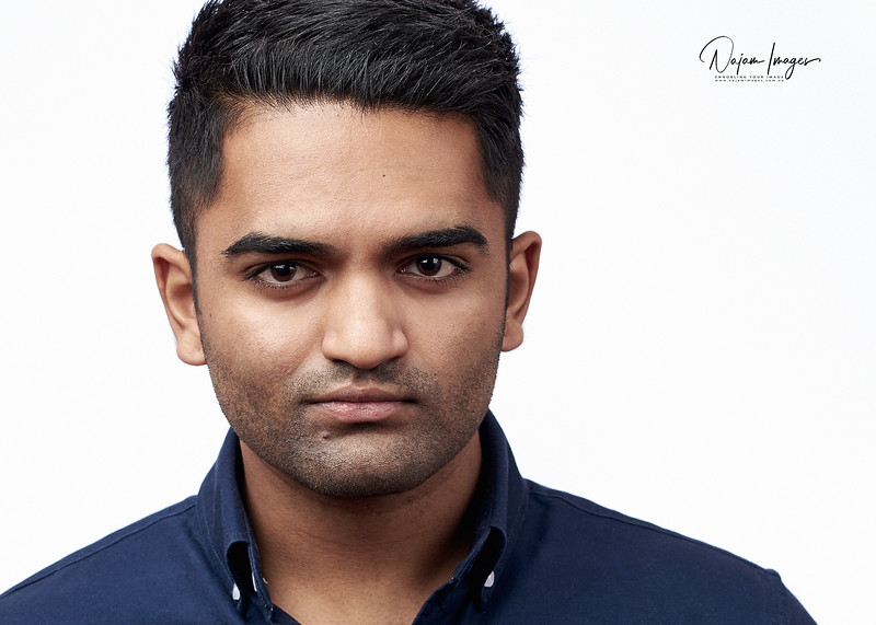 Strong headshot with minimalist expressions