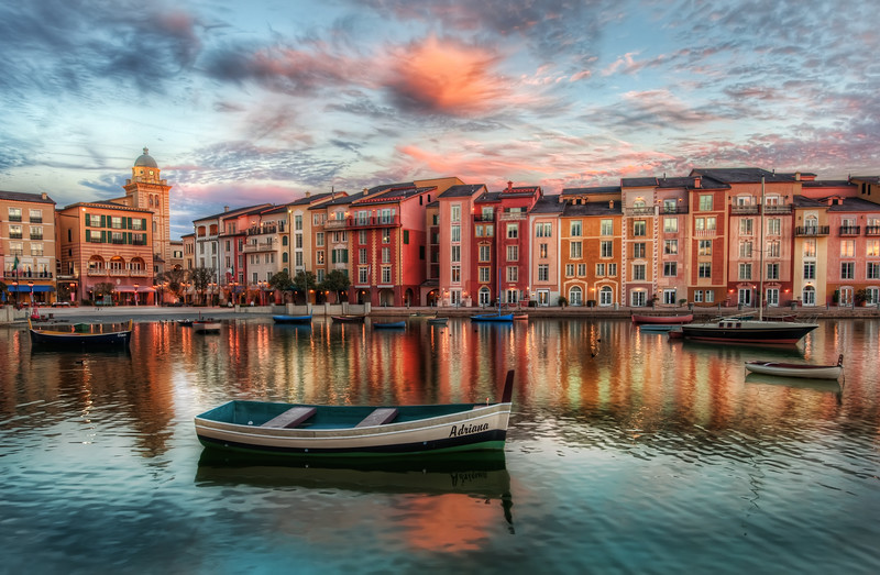 "<h2>The Bay at Portofino</h2> <br/>This isn't really Portofino, but it sure does look like it, eh? We might even make the case that it is more pretty than the real Portofino! This is a beautiful resort in Orlando, over at Universal Studios.  All the colors in the sky and the buildings seemed to melt together, so I stopped for a quick photo.<br/><br/>- Trey Ratcliff<br/><br/><a href=""http://www.stuckincustoms.com/2010/02/17/smugmug-portfolio-contest/"" rel=""nofollow"">Click here to read the rest of this post at the Stuck in Customs blog.</a>"