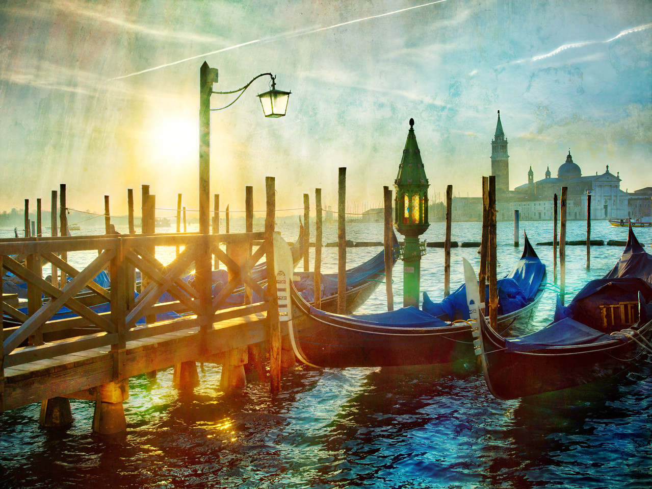 Morning in Venice at the Gondolas