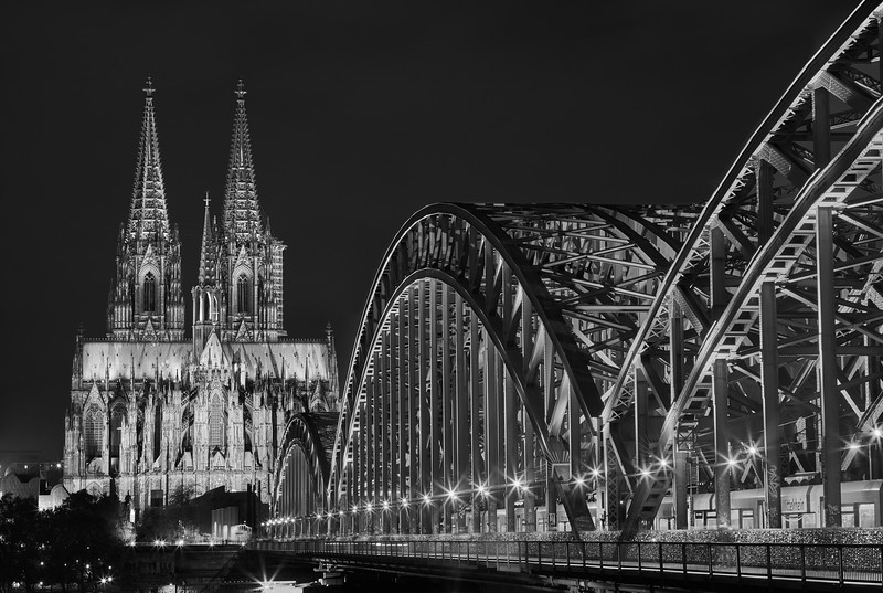 """Cologne Cathedral with Hohenzollern Bridge"""