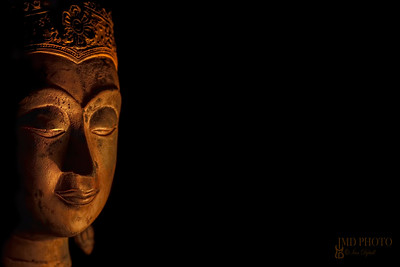 Zen Buddhism. Spiritual enlightenment of serene Buddha head in meditation.