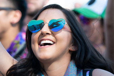 The hand of a festival goer is reflected in her sunglasses during Day 1 of Spring Awakening Music Festival in Hoffman Estates, Ill. on June 7, 2019. | Colin Boyle for the Sun-Times