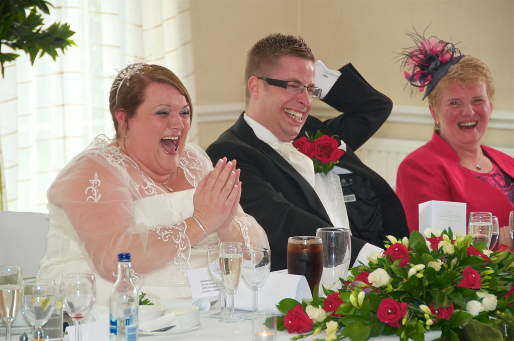 Laughter at the Wedding speeches in Milton Keynes
