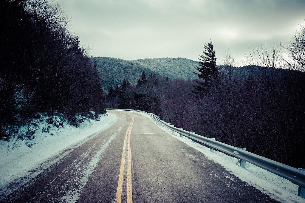Icy roads on the way up to Carvers Gap near Roan Mountain.