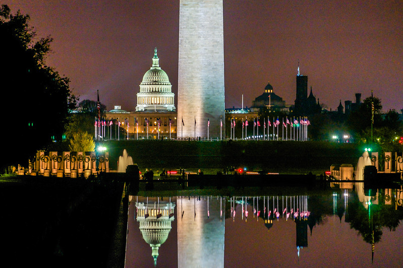 US Capitol Building & Washington Monument Reflected in Water