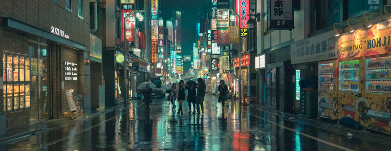 A Cinematic Rain In Tokyo