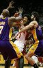 In first period action, LA Lakers' Lamar Odom, left, #7, double teams the Hawks' Josh Childress, center, #1, with LA's Vladimir Radmanovic, right, #10, on Monday, Feb. 5, 2007.  Childress draws a foul on this play.  Lakers are winning 40-31 at the half.