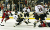 Late in the third period, Gwinnett Gladiators' Milan Gajic, #9, second from left,  scores with this shot against the South Carolina Stingrays to tie the game 4-4 forcing the playoff game into overtime Sunday, April 16, 2006 at the Arena and Gwinnett Center.  Gladiators win 5-4.