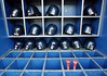 030919 - ATLANTA, GA - The Braves batting helmets and bat storage are stored in the dugout. Photo taken Friday, Sept. 19, 2003, before the game against the Florida Marlins at Turner Field. (JENNI GIRTMAN/STAFF)