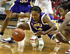 In first half action, LSU's Sylvia Fowles, front left, #34,  and Alexis Kendrick, front right, #31,  reach for posession on Sunday, Jan. 22, 2006.  This play resulted in a jump ball.  Georgia lost 64-65.