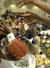 In first half action, Georgia Tech's Anthony Morrow, center, works to free himself and draws a foul against Boston College on Sunday, January 8, 2005 at Alexander Memorial Coliseum. Tech won 60 to 58.