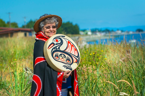 The First Peoples Fund recognized Elaine Grinnell, a prominent Jamestown S'Klallam storyteller, basketmaker and drum maker, for its 2018 Community Spirit Award. (Jesse Major/Peninsula Daily News)