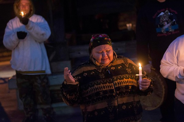Thelma Lawrence of the Lower Elwha Klallam Tribe sings during a vigil for Valerie Claplanhoo Jan. 21, 2019. Claplanhoo was killed Jan. 2 in her Sequim apartment and her killer has not been charged. (Jesse Major/Peninsula Daily News)
