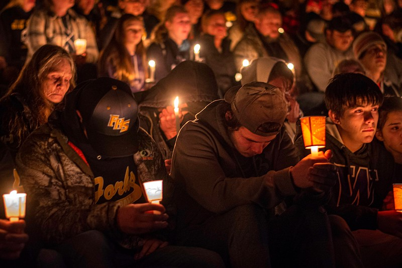 Hundreds gathered at Spartan Stadium in Forks to mourn Tristen Pisani Dec. 5, 2019. Pisani was shot and killed Dec. 1, just days before he planned to leave Forks. (Jesse Major/Peninsula Daily News)