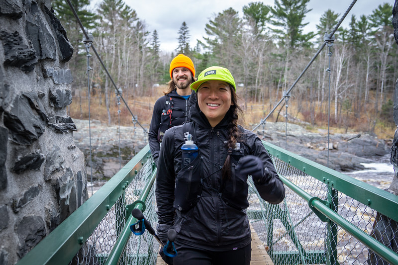 Alex and her partner Jared crossing the swinging bridge at Jay Cook State Park, less than ten miles from the southern terminus of the Superior Hiking Trail.