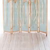 all in one blue dressing room with white wood planks