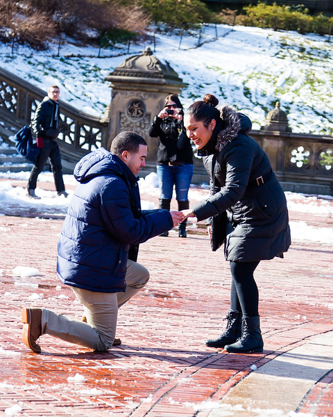Olga + Juan Carlos Proposal + Engagement Session | Bethesda Fountain, Central Park, NY