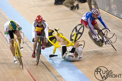 Two former world champions- Australia's Jobie Dajka (on ground) and Frenchman Arnaud Tournant crash out in 2005 keirin semi-final world championships. Los Angeles, Californa, March 2005