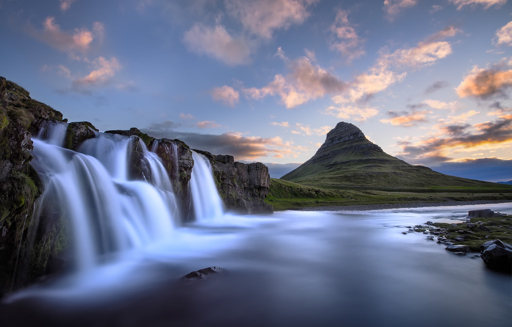 Photograph: Kirkjufellsfoss - Kirkjufell mountain and nearby waterfall, Kirkjufellsfoss in Iceland.