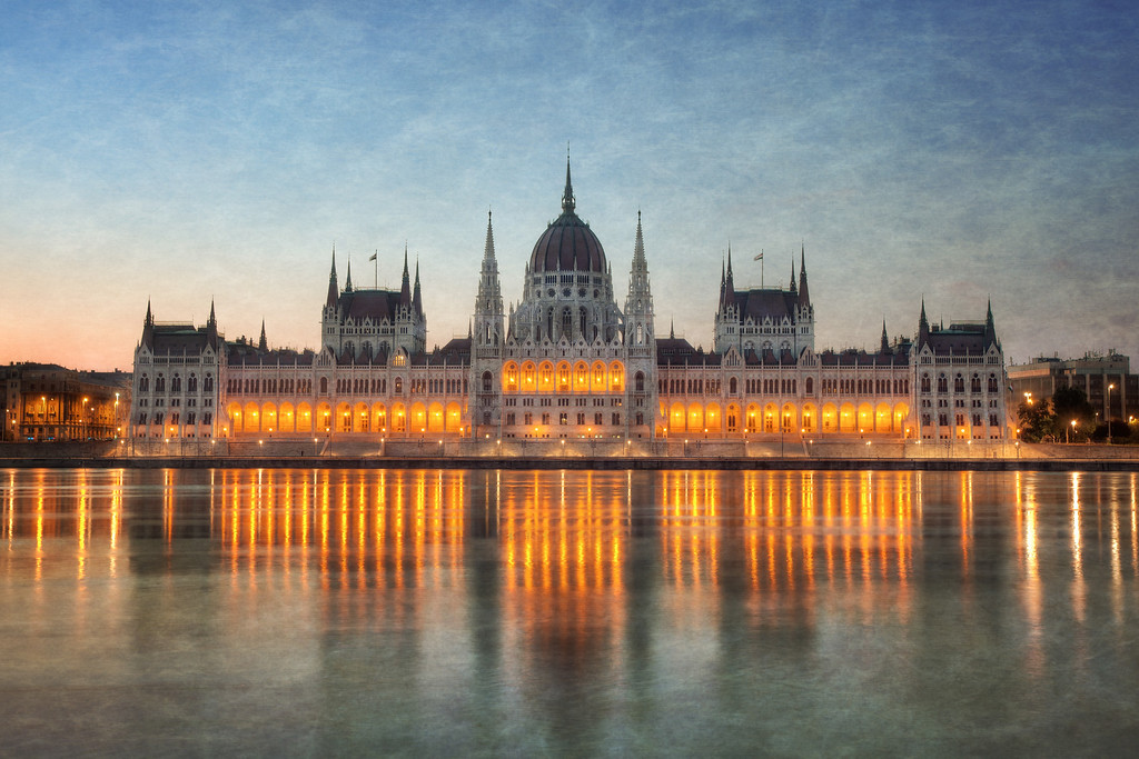 Photograph: Budapest Parliament - Textured photo of Budapest Parliament at sunrise from across the River Danube in Hungary.