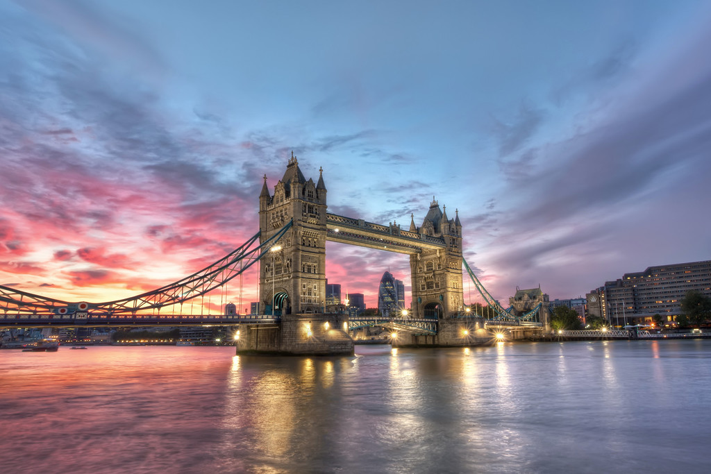 Photograph: A Bridge of Two Halves - Amazing two-tone sunset behind London's most famous landmark, Tower Bridge.