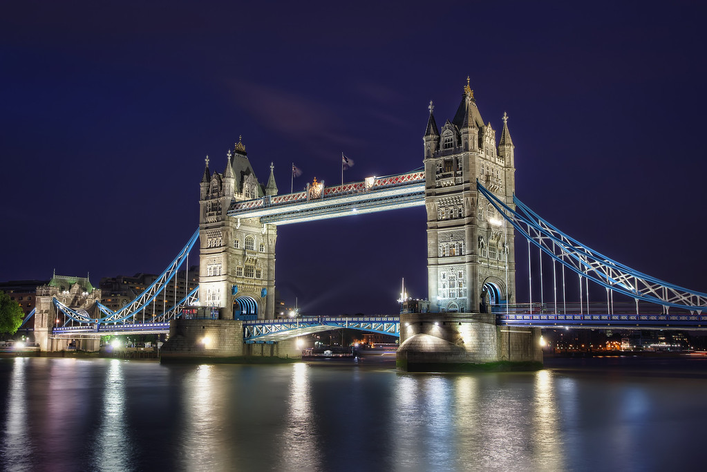 Photograph: Tower Bridge - HDR night-time shot of Tower Bridge in London, England.