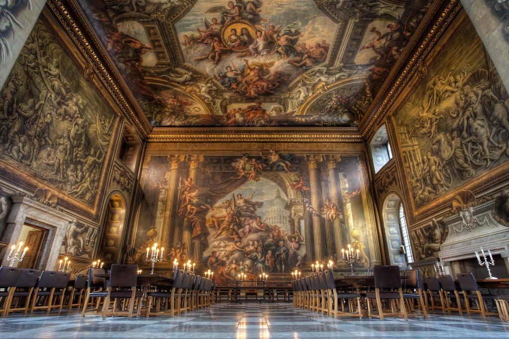 Photograph: The Finest Dining Hall in Europe - HDR interior photograph of the ornate and beautiful Painted Hall in the Old Royal Naval College, Greenwich, London. Often referred to as The Finest Dining Hall in Europe.