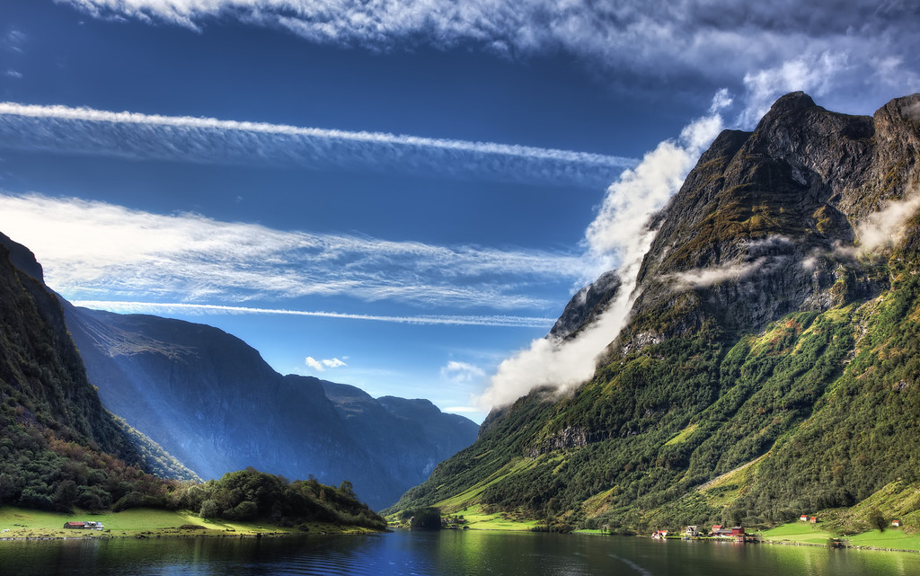 Photograph: Majestic Norway - Amazing view of the Nærøyfjorden, part of the Sognefjord, on a sunny day. These fjords in Norway are a UNESCO World Heritage Site.