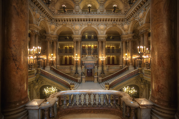 Photograph: The Balcony - Architectural shot looking over a balcony onto the Grand Staircase of the Opéra Garnier.