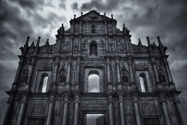 Photograph: The Ruins of St. Paul's - Monochrome image of The Ruins of St. Paul's in Macau.