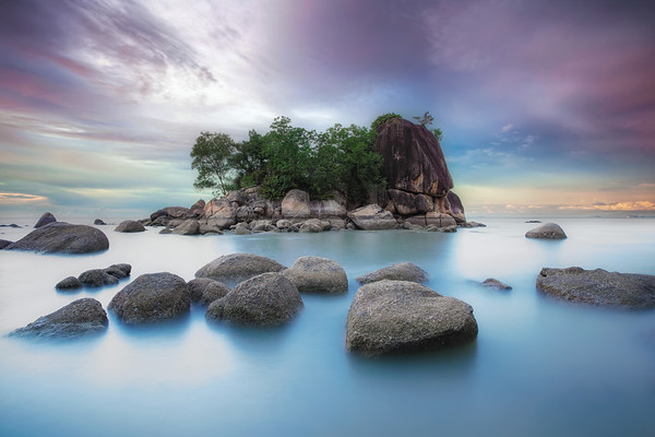 Photograph: The Colours of Penang - Sunset behind an island at Batu Ferringhi in Penang, Malaysia