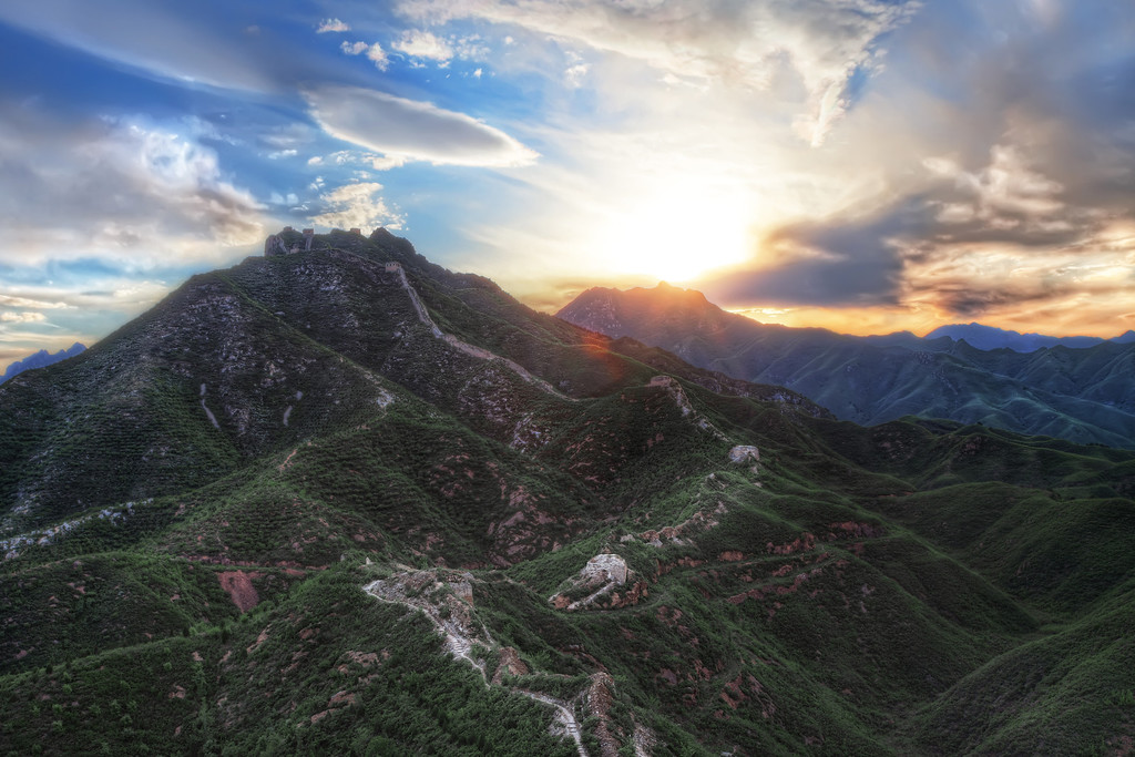 Photograph: Crouching Tiger, Great Wall - Sunset behind the Great Wall of China in Gubeikou, at the Wohu (Crouching Tiger) Mountain.