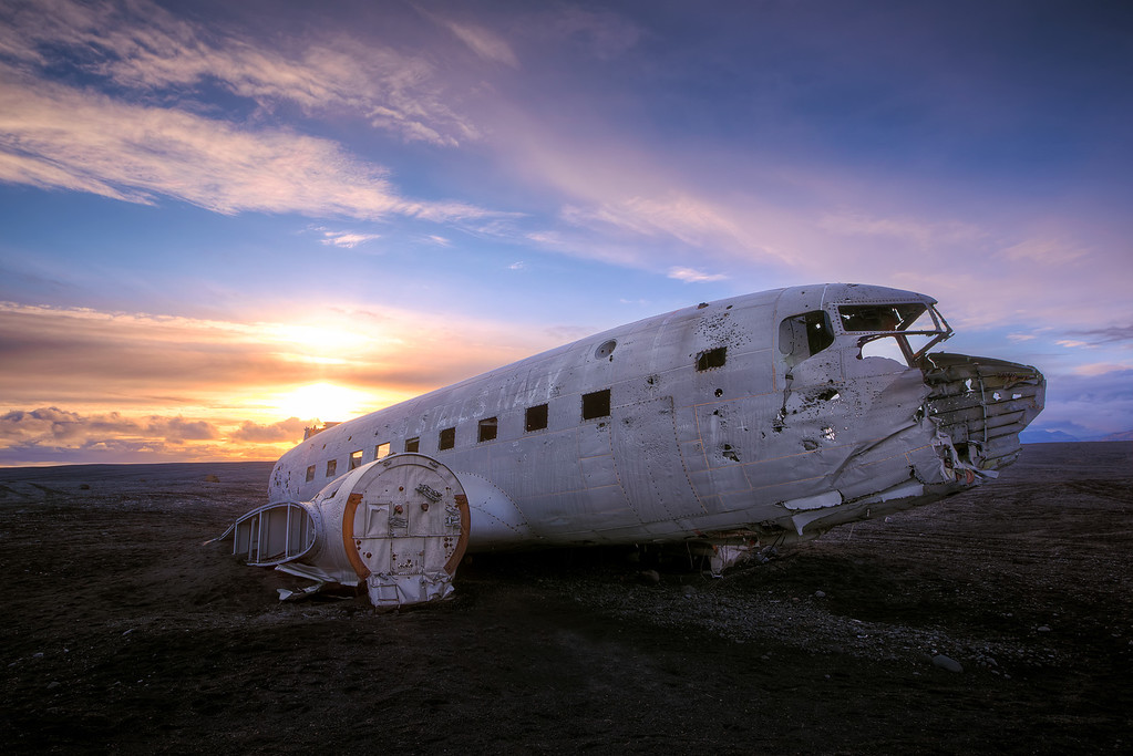 Photograph: The Lost Plane - The wreck of a United States Navy Dakota which crash landed on the coast of Iceland in 1973