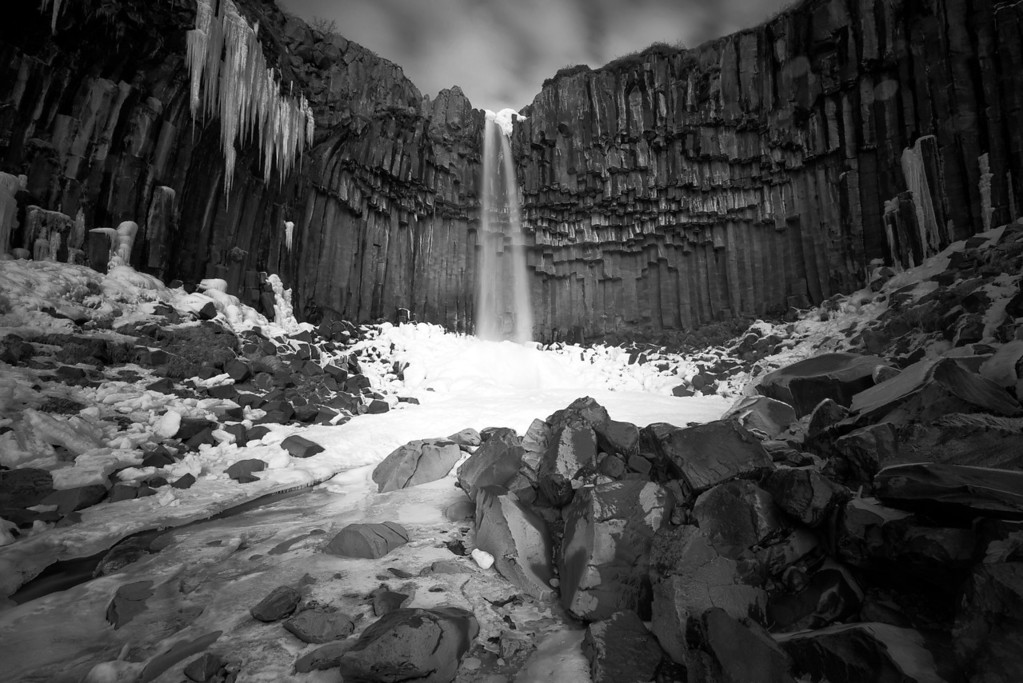 Photograph: The Black Waterfall - A monochrome long exposure of Svartifoss in Skaftafell National Park, southern Iceland.