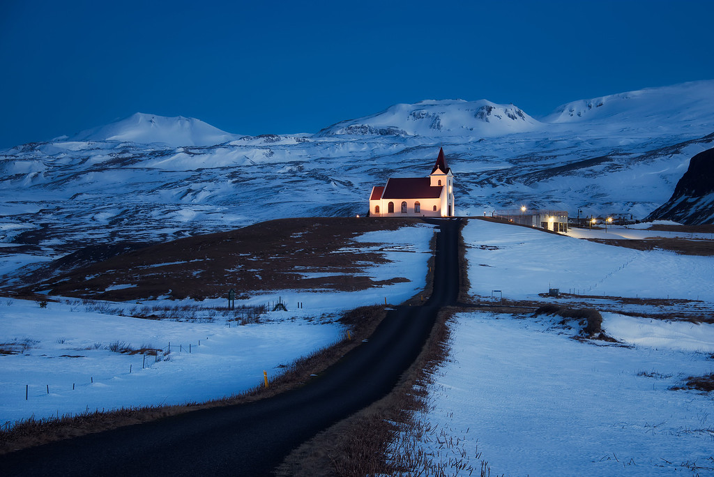 Photograph: The Lonely Church at Blue Hour - A church in Iceland at the end of the blue hour.