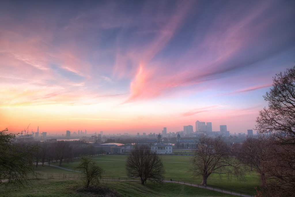 Photograph: The Lavender Skies of London - Lavender skies above Greenwich Park as the sun sets on London, England.