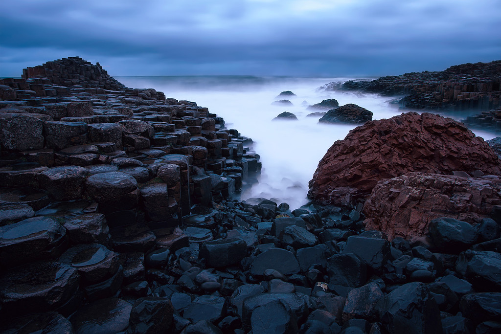 Photograph: The Giant's Red Rock - Long exposure of an inlet at the Giant's Causeway in Northern Ireland.
