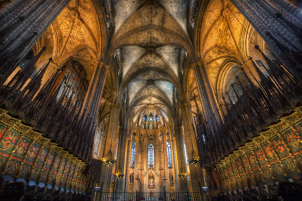 Photograph: Barcelona's Gothic Cathedral - HDR interior shot of Barcelona Cathedral.