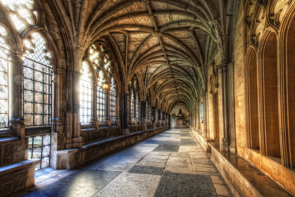 Photograph: The Sun-Filled Corridor - Brightly lit, almost dreamy, Harry Potter-esque, gothic corridor in Westminster Abbey.
