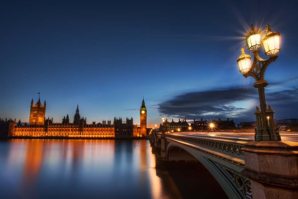 Photograph: Against the Dying of the Light - HDR blue hour photo of the Houses of Parliament across The Thames river in Westminster, London, England.